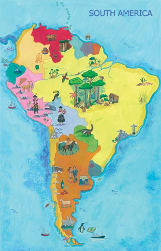 Map Of South America English Only Edition Multicultural Language